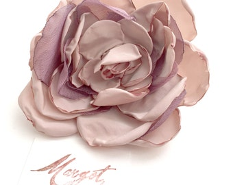 Rose Pin/Taffetas Flower and Organza/Wedding Pin accessories/Bridesmaid Accessory/Peach/Antique Pink/boho accessories