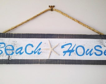 Beach House Rustic Timber Sign