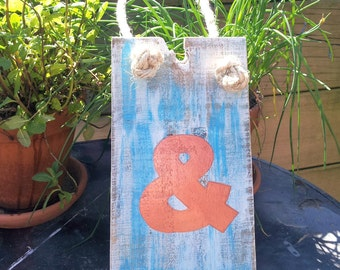 Rustic Timber Sign with the Ampersand Letter &