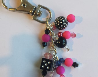 Broken Hearted, Pink and Black KeyChain