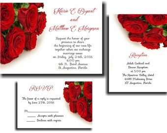 25 Red Rosses Wedding invitations RSVP and Reception cards