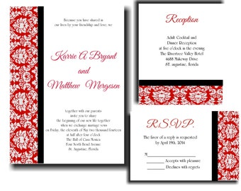 25 Red Black Damask Wedding invitations RSVP and Reception cards
