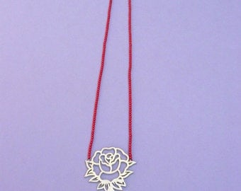 Tattoo Necklace Rose Red&Gold, Sterling Silver, Red Coral