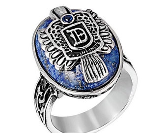 Vampire ring stainless steel 316L lapis lazuli for him and her (GO-013)