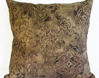 Brown Pillow Cover, Print Pillow Cover in Shades of Brown with Black