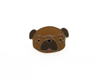 Enamel Pug face Lapel Pin // Cute Brown Dog Illustration brooch//EP003