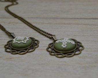 Hand embroidered button necklaces