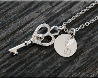 Silver Skeleton Key Charm Necklace, Initial Charm Necklace, Personalized, Key Pendant, Skeleton Key Jewelry, Monogram Key Necklace