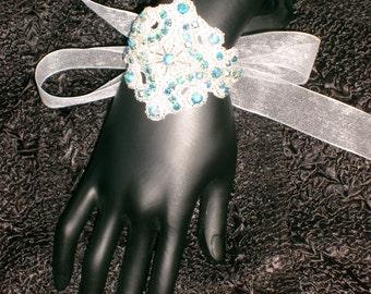 Bridal Cuff Bracelet White Beads Blue AB Rhinestones with Sparkle White Organza Ribbon Beautiful!