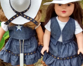 4 piece cowgirl outfit fits American Girl  and other 18 inch dolls