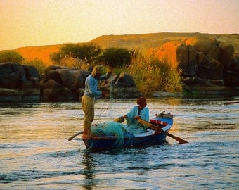 FISHING on the NILE in ASWAN,Egypt.  A Fine Art Photo 5X7 Card. Photo Copyright Protected.