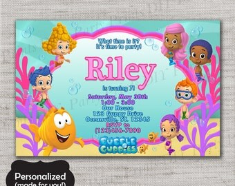 Bubble Guppies Birthday invite,Bubble Guppies invite,JPG file,Invite,Birthday Invite,Guppies Party,Guppies,Bubble Guppies,DPP76