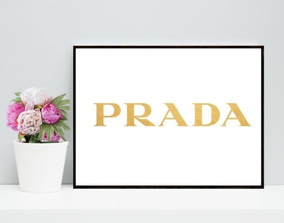 pradaprintable wall art prada print gold prada by inthepinkprints. Black Bedroom Furniture Sets. Home Design Ideas