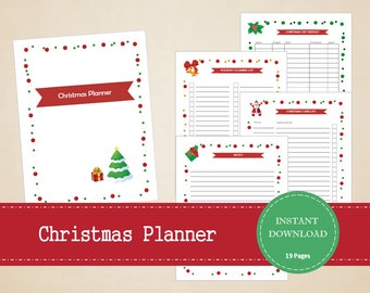 Printable 2017 Christmas Planner Kit with 19 pages - Editable Christmas Organizer – Holiday Planning Kit - INSTANT PDF DOWNLOAD