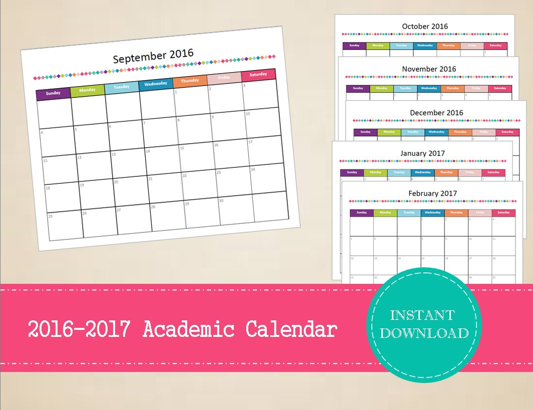 2016-2017 Monthly Academic Calendar by MBucherConsulting on Etsy