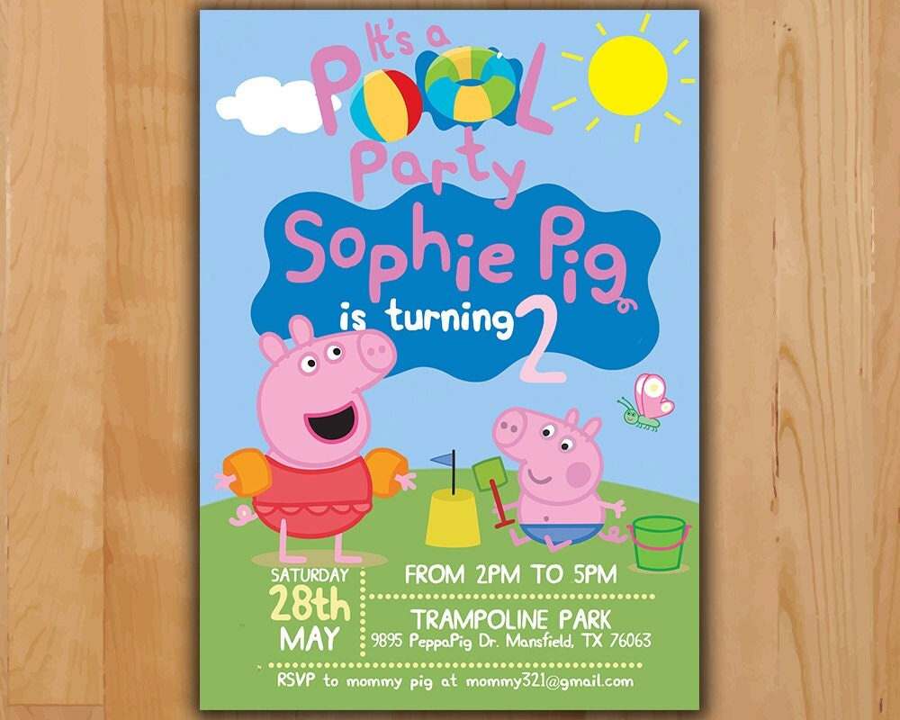 Peppa pig invitation peppa pig summer party invitation for Peppa pig en piscina