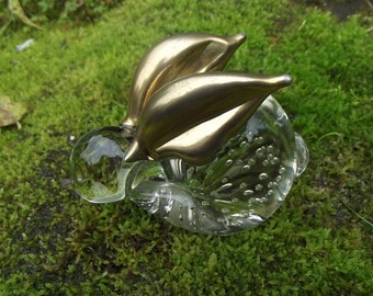Nice Art Glass Rabbit  paperweight with gold painted ears