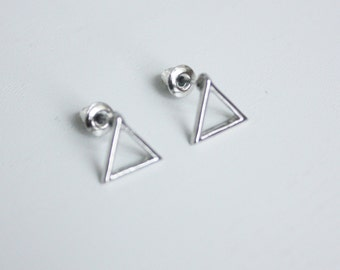 minimalistic simple small triangle earrings, gold plated, silver plated