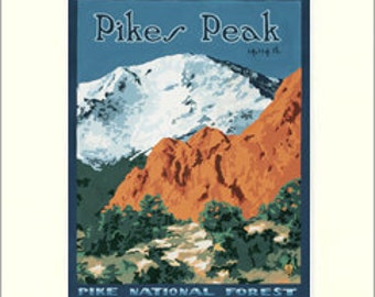 Pikes Peak: Colorado Series, The Bungalow Craft by Julie Leidel, WPA-Style Poster Art, Arts & Crafts Movement