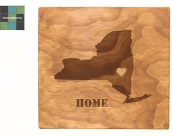 Personalized State, New York Wood Sign Custom Engraved