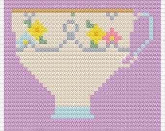 Purple Teacup Pop Art - Cross Stitch Pattern - Instant Download