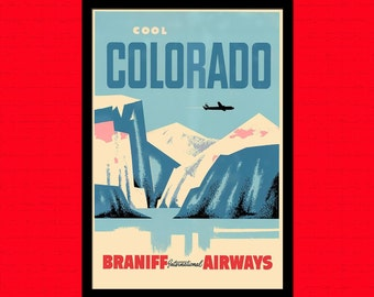 Printed on textured bamboo Art paper - Colorado Travel Print Airline Travel Poster Colorado Poster Travel  Hostel Travel Colorado Print  bp