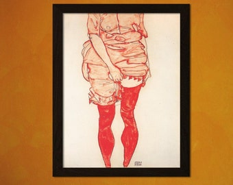 Printed on textured bamboo Art paper - Egon Schiele Print Stehende Frau in Rot 1913  Retro  Decor  Decor Expressionism Painting  bp