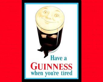 Printed on textured bamboo Art paper - Beer Poster Guinness Beer Vintage Beer Print Retro Kitchen Decor Kitchen Guiness Poster  Beer   bp