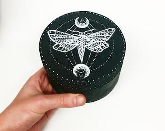 Hand painted wooden moth moon trinket box