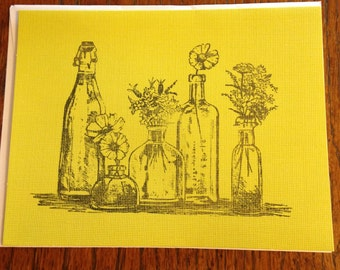 Vintage Bottle With Flowers