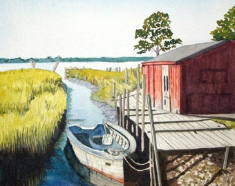 Boat and Dock Watercolor Painting