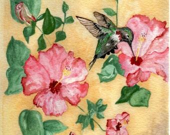 Hummingbird Watercolor Painting
