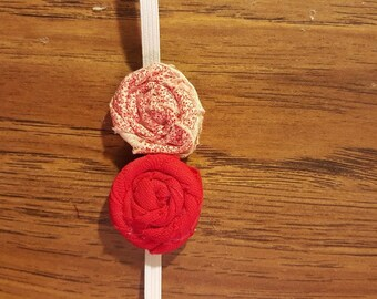 Red & Floral double rosette headband
