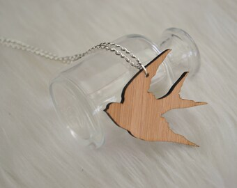 Bamboo Laser Cut Swallow Necklace