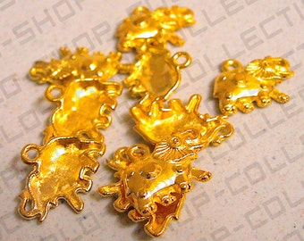 14mm, Elephant Charm, Alloy Gold Color