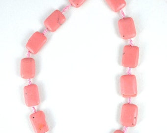 20x13mm Square Shape Pink Aagte Stone Beads, Sold by 1 strand of 16pcs, 20x13mm, 1mm hole opening, 32.2grams/pk