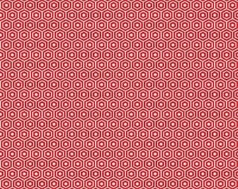 Lost and Found 2, Red - Hexagon,  1/2 Yard - My Mind's Eye for Riley Blake