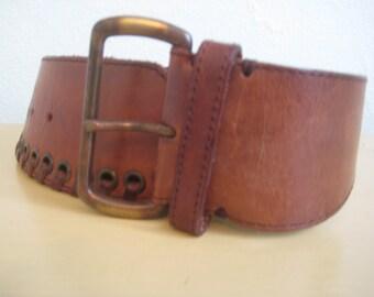 1980's-1990's vintage leather whipstitch belt / vintage leather brown belt / vintage belt
