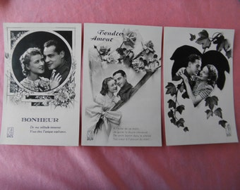 """6 authentic postcards of the 1930s """"Lovers"""" 10 euros the lot or unit 2 euros one"""