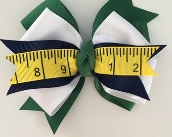School Hair Bow, Back to School Bow, School Uniform Hair Bow, Hunter Green Bow, Yellow Ruler Ribbon Bow, Navy Green and White School Bow,