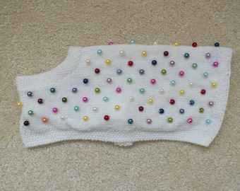 Coloured pearls dog coat made to order