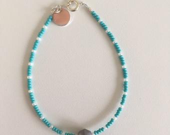 Beaded Friendship Bracelet, Beaded Bracelet, Friendship Bracelet, Turquoise Bracelet, Grey Bracelet, Stacking Bracelet, Mermaid Bracelet