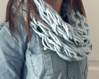 Arm Knitted Infinity Scarf- Light Blue (Glacier)