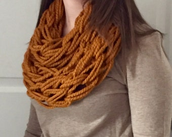 Butterscotch (Mustard Yellow) Arm Knitted Infinity Scarf