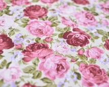 1yd x 44'' Lilac/Pink Rose Fabric / 100% Cotton / by the yard