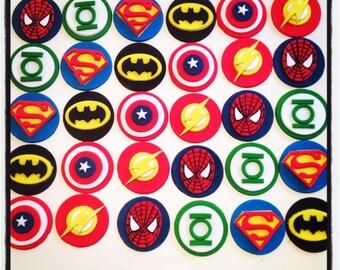 12 x Superhero  fondant Cupcake Toppers - Batman, Flash, Spiderman, Captain America, Superman, Green lantern birthday party boy