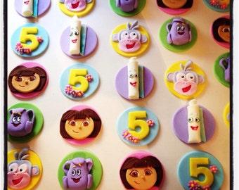 24 x Dora the Explorer Edible Fondant Cupcake Toppers - Dora, Boots, Map, Backpack