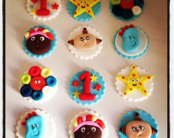 12 x In the Night Garden Edible Fondant Cupcake Toppers - Iggle Piggle, Macca Pacca
