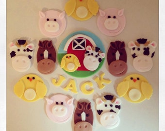 Farm Animal  Fondant Cake Topper with 12 cupcake Toppers - Horse, Chicken, Cow, Pig