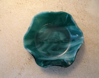 Green and White Art Glass Kiln Formed Bowl